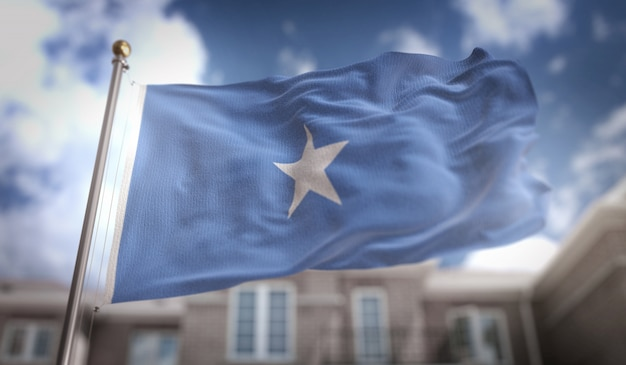 Somalia flagge 3d rendering auf blauem himmel gebäude hintergrund