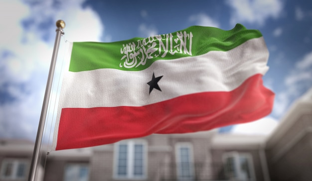 Somaliland flagge 3d rendering auf blauem himmel gebäude hintergrund