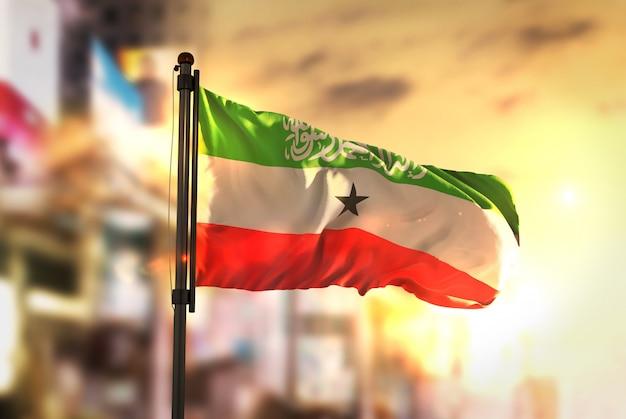 Somaliland-flagge gegen stadt verschwommen hintergrund bei sonnenaufgang hintergrundbeleuchtung