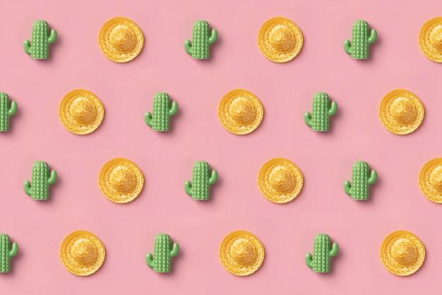 Sombrero- und kaktusmuster auf rosa. kreativer mexikaner