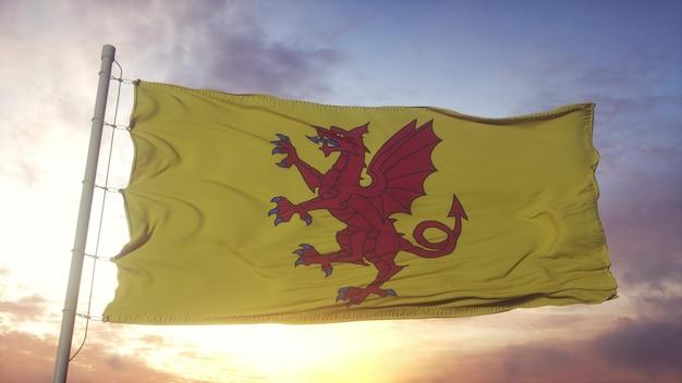 Somerset-flagge, england, weht im wind-, himmels- und sonnenhintergrund. 3d-rendering