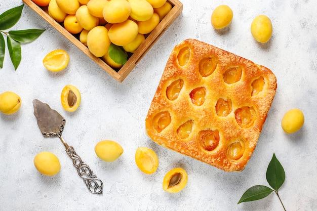 Sommer aprikosenkuchen mit frischen aprikosen Kostenlose Fotos