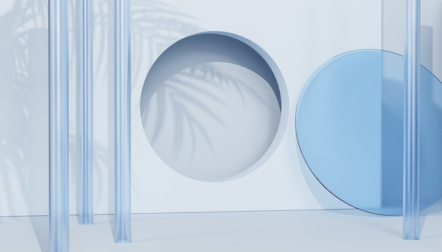 Sommer blauer hintergrund mit glasobjekten und tropischen blättern schatten, 3d-darstellung rendern