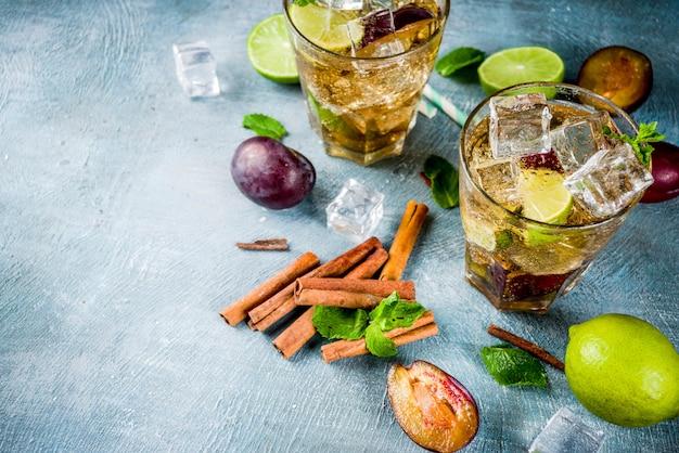 Sommer-erfrischungsgetränk mit eis. zimt-pflaumen-limonaden-cocktail mit frischer limette und minze