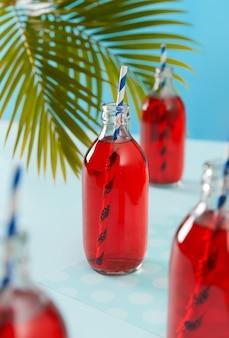 Sommer gefrorene cranberry-cocktails in flaschen mit palmblatt auf blauem hintergrund