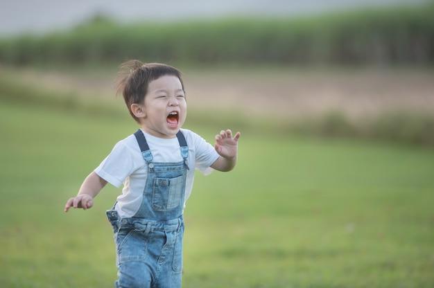 Sommer-, kindheits-, freizeit- und menschenkonzept - glücklicher kleiner junge, der draußen auf der grünen wiese läuft. netter junge, der über gras läuft und lächelt.