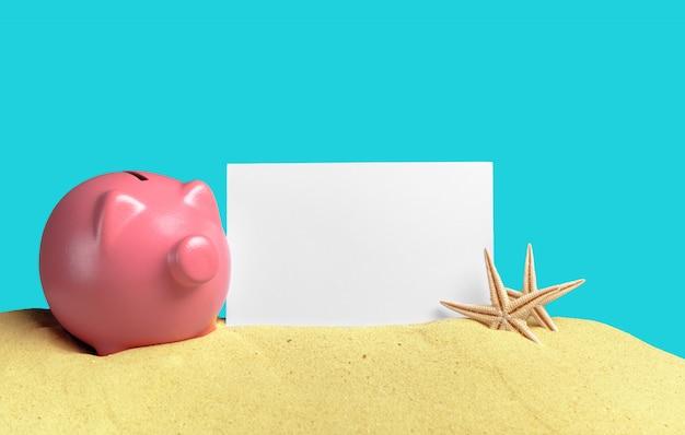 Sommer sparschwein mit sonnenbrille am strand