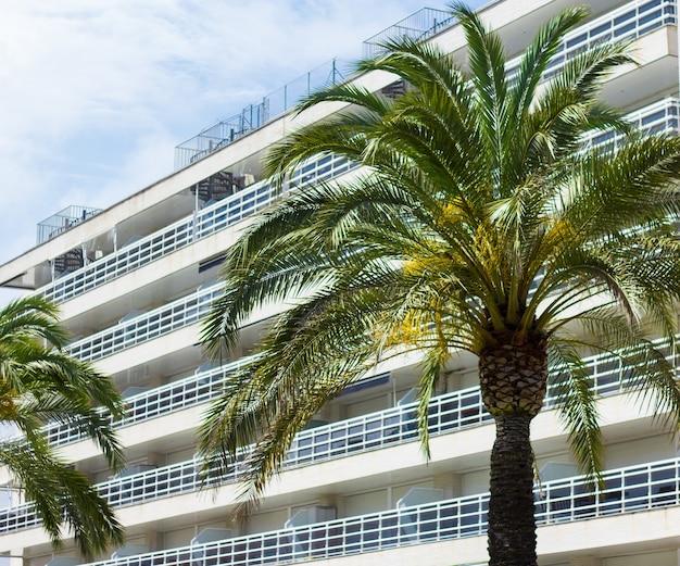 Sommer- und reisehintergrund - palme und modernes gebäude des hotels oder der wohnungen