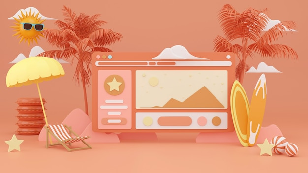 Sommeranzeige auf website-hintergrund. 3d-rendering.
