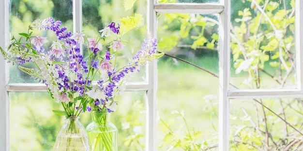 Sommerblumen in vase auf fensterbank im sonnenlicht