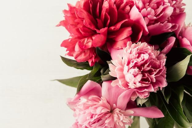Sommerblumenhintergrund mit den rosa und roten pfingstrosen
