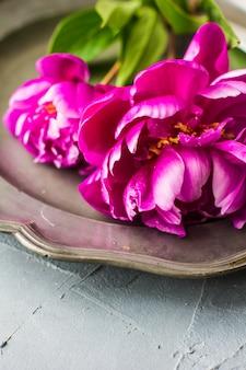 Sommerblumenkonzept mit pfingstrosen