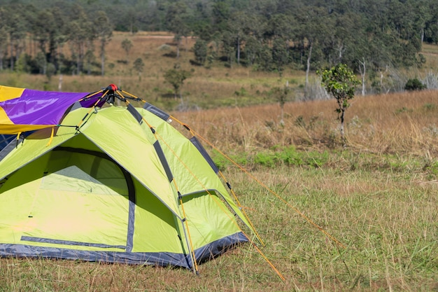 Sommercamping, zelt am campingpunkt