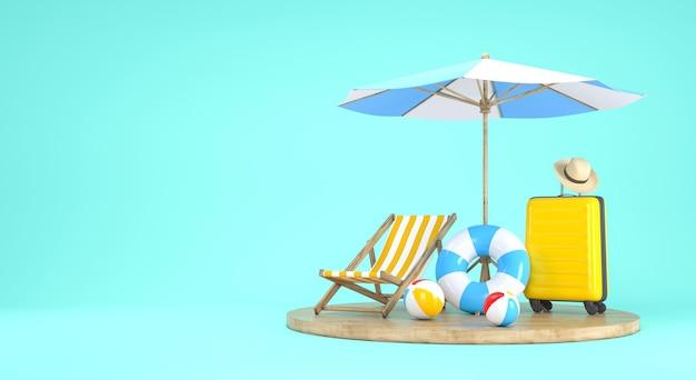 Sommerferien-design für reisekonzept. 3d-rendering