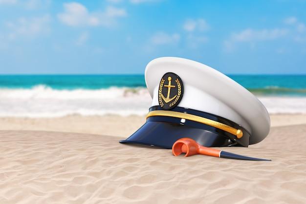 Sommerferien-konzept. marineoffizier, admiral, navy ship captain hat mit vintage smoking tobacco pipe auf einer extremen nahaufnahme der einsamen küste des ozeans. 3d-rendering