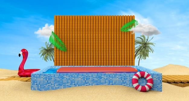 Sommerfestbanner mit 3d-strandelementen auf dem blauen hintergrund 3d-rendering