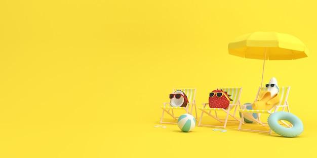 Sommerfrüchte, banane und erdbeere mit kokosnuss sitzen in liegestühlen auf gelbem hintergrund, minimales konzept.