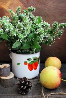 Sommergarten äpfel minze