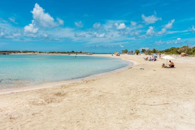 Sommerhintergrund mit tropischem strand in elafonisi griechenland