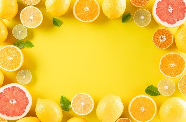 Sommerkomposition aus orangen, zitrone oder limette