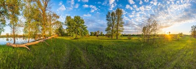 Sommerlandschaft mit schönem sonnenunterganglicht ukraine