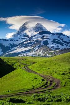 Sommerlandschaft mit ushba-gebirgsschneebedeckter spitze