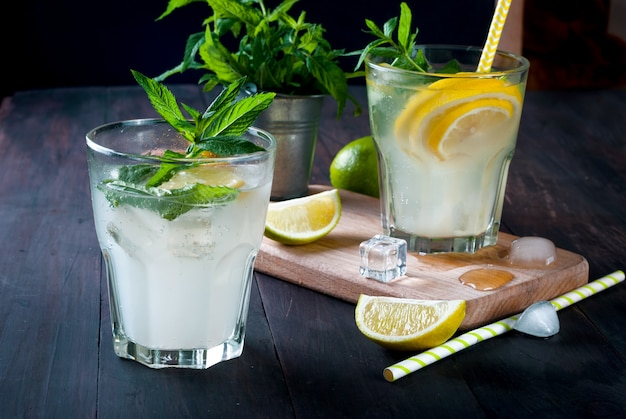 Sommerliches erfrischungsgetränk mit zitrone und minze, mojito