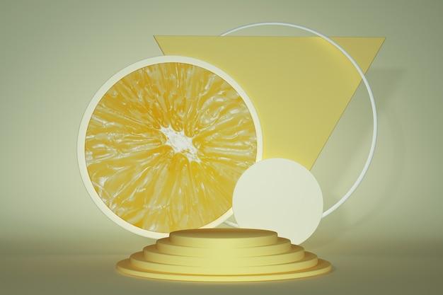 Sommerpodium zur produktpräsentation. leuchtend saftiges gelbes podest mit orangem muster