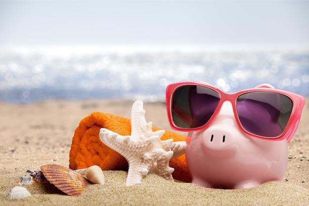 Sommersparschwein mit sonnenbrille und muscheln, sparkonzept