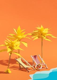 Sommerstrand aus verschiedenen materialien