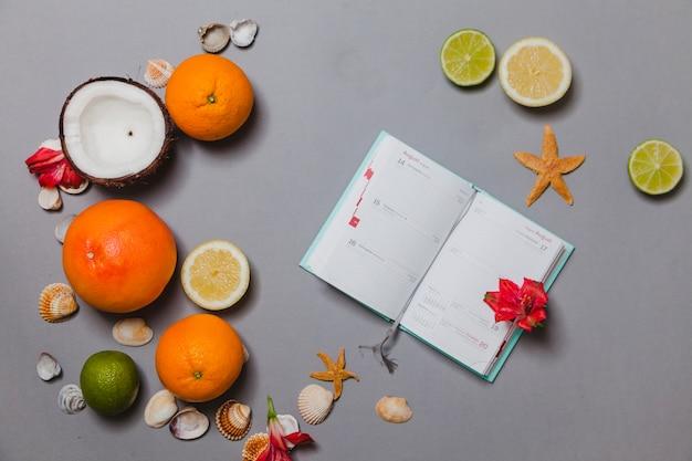 Sommertagebuch mit frischen früchten