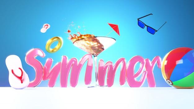 Sommertext mit cocktailglas- und -strandelementen