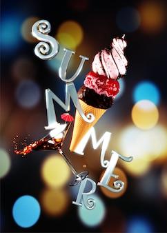 Sommertext mit eistüte und cocktailglas