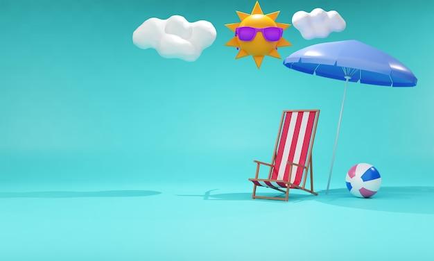 Sommerverkaufsfahne mit 3d strandelementen auf blauem hintergrund