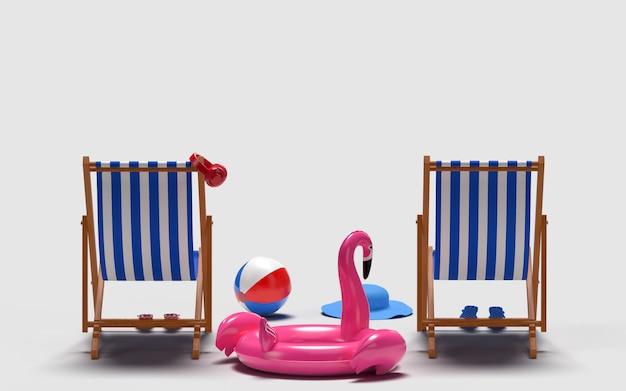 Sommerzeit mit elementen, flamingo float, poolring, ball, ring floating und stuhl