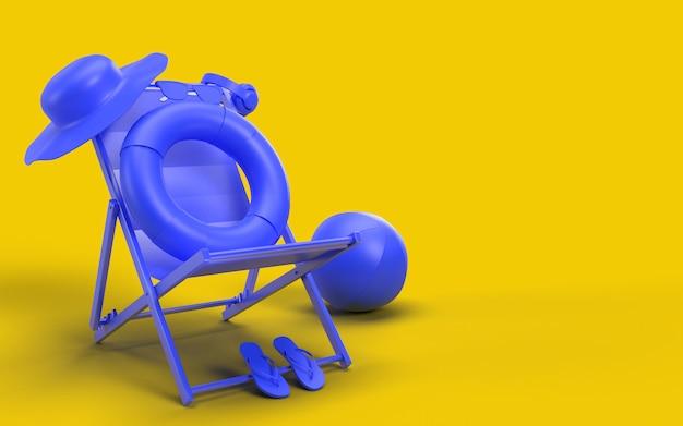 Sommerzeit mit elementen, sonnenglas, flip-flops, hut strand, ball, ring floating und stuhl für hintergrund banner oder wallpaper. kreatives design des sommerferien-ferienkonzepts. 3d-rendering
