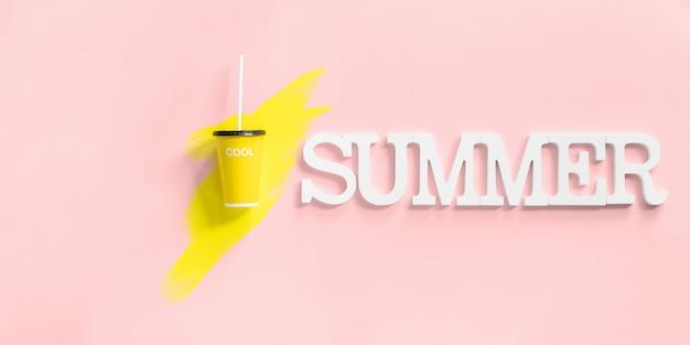 Sommerzeitvolumen beschriftet papierglas mit saft