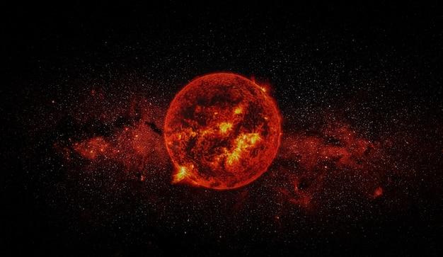 Sonne auf raumhintergrund. elemente dieses bildes eingerichtet