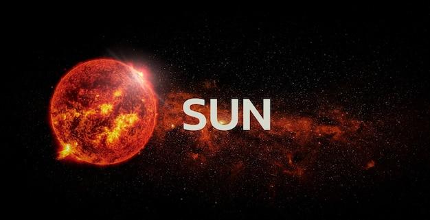 Sonne auf raumhintergrund. elemente dieses bildes von der nasa geliefert.