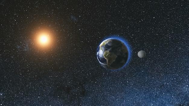 Sonnenaufgang aus dem weltraum auf dem planeten erde und mond, die sich im weltraum vor dem hintergrund des sternenhimmels und der sonne drehen. nahtlose schleife. astronomie und wissenschaftskonzept. von der nasa bereitgestellte bildelemente