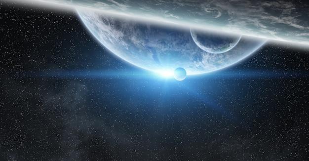 Sonnenaufgang über dem planeten erde im weltraum