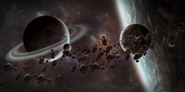 Sonnenaufgang über entferntem planetensystem in den wiedergabeelementen des raumes 3d dieses bildes geliefert von der nasa