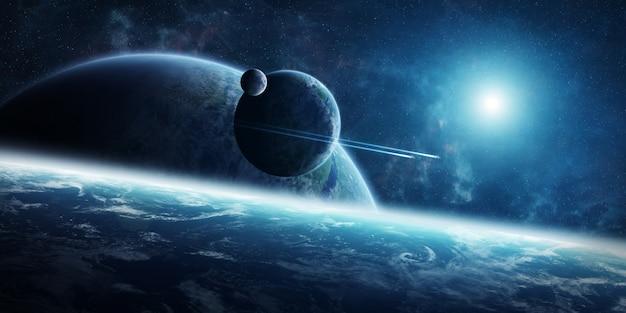Sonnenaufgang über entferntem planetensystem in der wiedergabe des raumes 3d