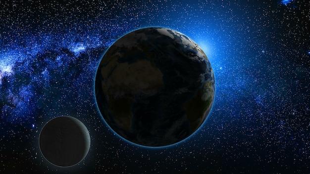 Sonnenaufgangansicht vom raum auf planet erde und mond