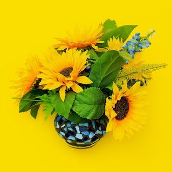 Sonnenblume in einem topf auf gelbem grund. sommergefühl