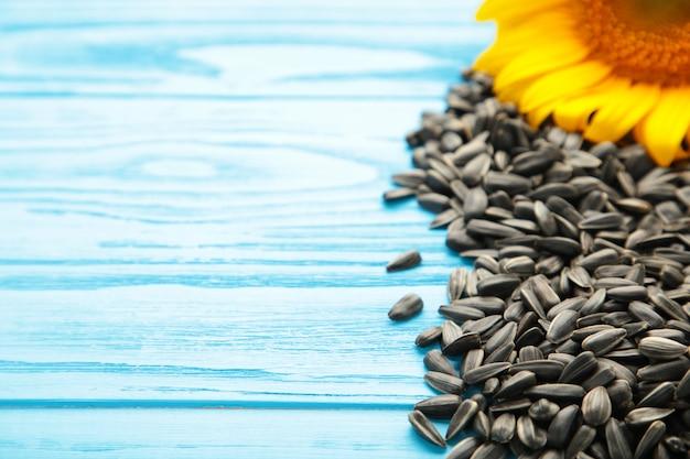 Sonnenblume mit samen auf blauem hölzernem hintergrund mit kopienraum. ansicht von oben