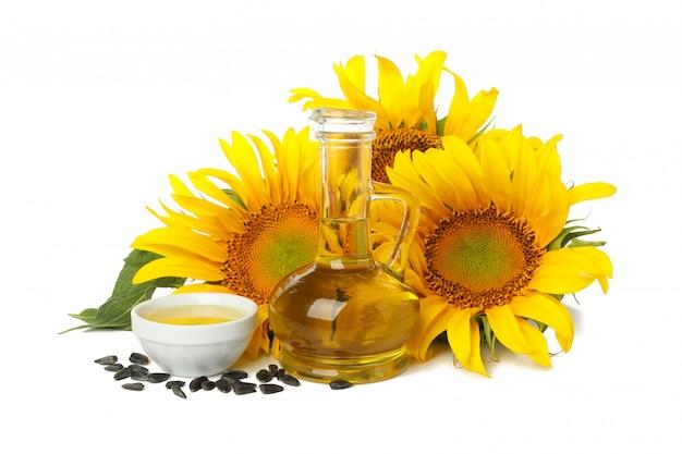 Sonnenblume, samen und öl auf weiß