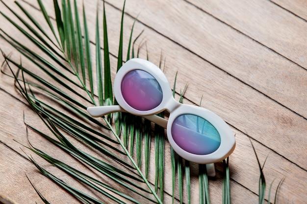 Sonnenbrille und palmenzweig
