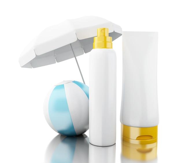 Sonnencreme 3d mit wasserball und regenschirm