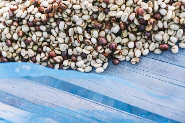 Sonnengetrocknete arabicakaffeebohnen auf blauem netz mit kopienraum
